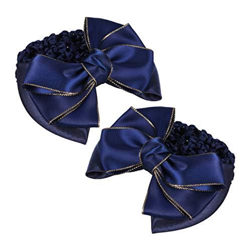 Lurrose 2 Pcs Bowknot Cheveux Snoods Cheveux Chignon Couverture Pince à Cheveux Net Snood Résille Filet Replié Net Professionnel Fixateur de Cheveux pour La Classe de Danse Travail Quotidien (Bleu)