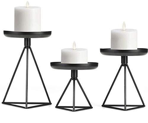 Alumuk Kerzenständer Kerzenhalter Kerzenleuchter 3er Set, Eisen Deko Kerzenständer in Unterschiedlicher Größe, Antik Kerzen Ständer Tischdeko für Hochzeit Wohnzimmer Tabelle, Schwarz