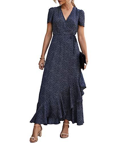 PRETTYGARDEN Women's Wrap Maxi Dress Boho Floral V Neck Short Sleeve Ruffle Hem Split Beach Long Dresses (Blue, Large)