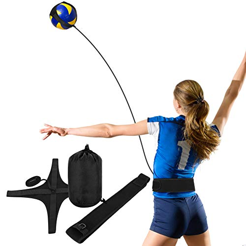 YHG Volleyball Training Aid with Waist Strap for Solo Practice of Arm Swing Rotations, Serving, Spiking and Hitting (Black and Yellow)