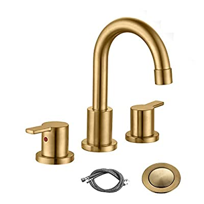RKF Two Handle Widespread Bathroom Sink Faucet with Pop-up Drain with overflow and Faucet Supply Hoses,Brushed Gold,WF015-9-BG