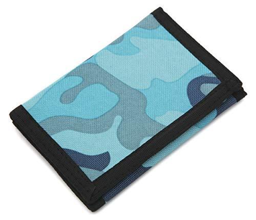 Portafogli sottile mimetico, in tela, per sport all'aperto, con protezione RFID, per bambini Blu Blu small