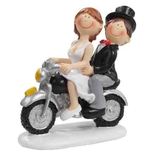 Hochzeitspaar auf Motorrad * Tortendekoration * Tortenfigur * Tischdekoration