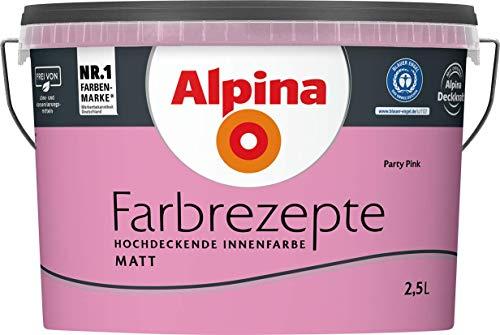 ALPINA Wandfarbe, Farbrezepte 2,5 Liter Party Pink Matt, hochdeckende Farbe
