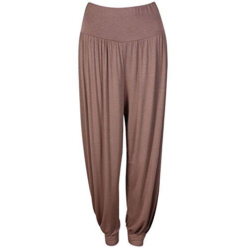 Lange Pumphose für Damen von Pretty Fashion, orientalischer Stil, Baggy-Stil, Haremshose, Übergröße, Größe 36–50 Gr. 46-48, mokka