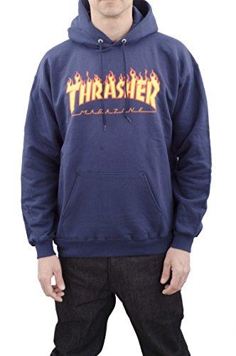 """Thrasher - Felpa da uomo con logo """"in fiamme"""", Uomo, Maglia di tuta, 113102M/NY, Blu mare, M"""
