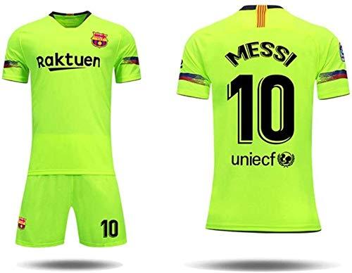 MCE Club Barcelona 10# Lionel Messi Fans Trikots Set for Erwachsene Jugendliche Männer (Color : Green, Size : S)