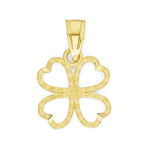10k Solid Real Gold Four Leaf Clover Pendant, Good Luck Charm Irish Jewelry Gifts