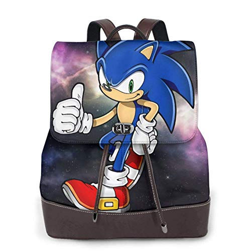Sonic Womens Leather Backpack Multifunction College School Laptop Bookbag
