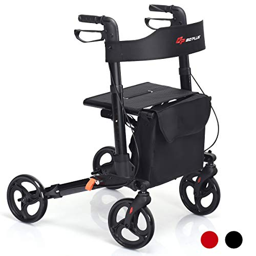 "Goplus Folding Rollator Walker, 4 Wheel Medical Rolling Walker with Seat & Bag, Mobility Rollator Lightweight Aluminum Walker with 8"" Wheels for Seniors (Black)"