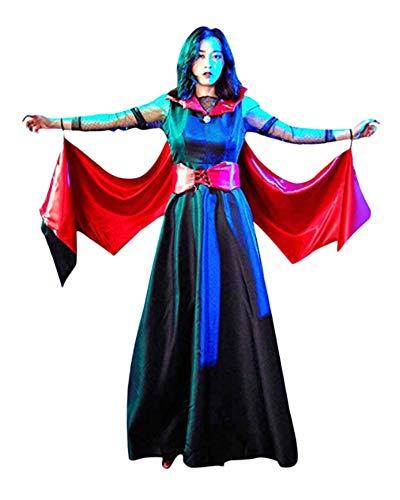 YAOTT Disfraz De Vampiresa De Halloween para Mujer Cosplay Vestido Negro Rojo S
