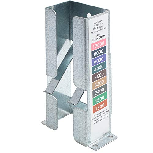 Sandpaper Dispenser for 2 inch x 2 inch Micro Mesh Abrasive Pads. Made From Galvanized Steel and Holds Up To 9 Pads and Has A Color Code Chart for Easy Grit Identification.