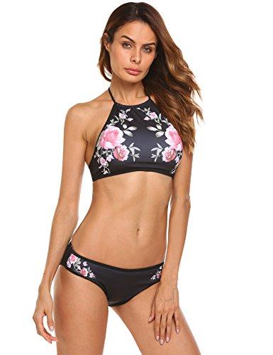 EKOUAER Damen Bustier Bikini High Neck Bikini-Set Druck Push up Badenanzug Blumendruck Neckholder Swimsuit Zweiteilig Schwimmanzug, Schwarz Blumen, EU 40(Herstellergröße: L)