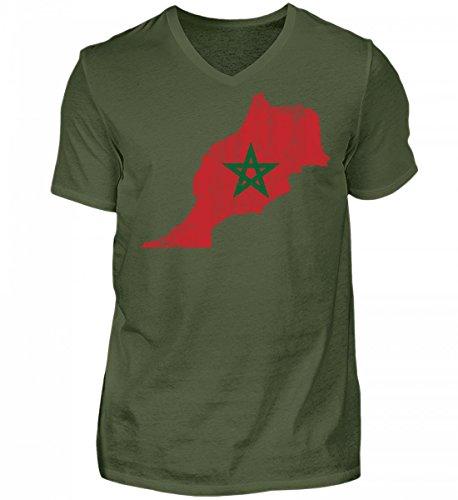 Hochwertiges Herren V-Neck Shirt - Marokko Stolzes Marokkanisches Vintage Fussball Fan Trikot - Morocco Land Sport Geschenk