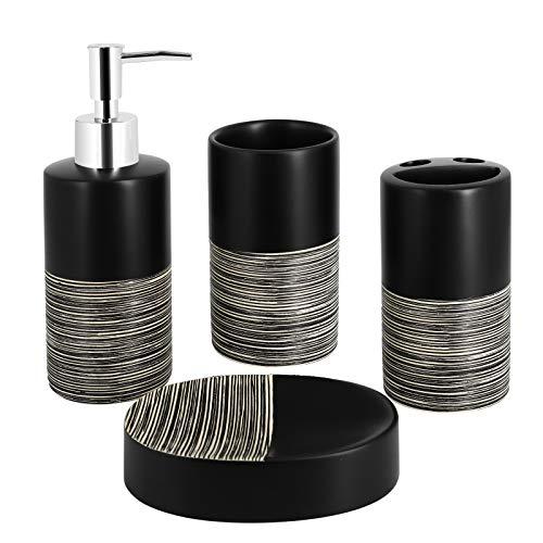 Top-Spring Ensemble de 4 accessoires de salle de bain en céramique avec distributeur de savon, gobelets, porte-savon (noir et beige)