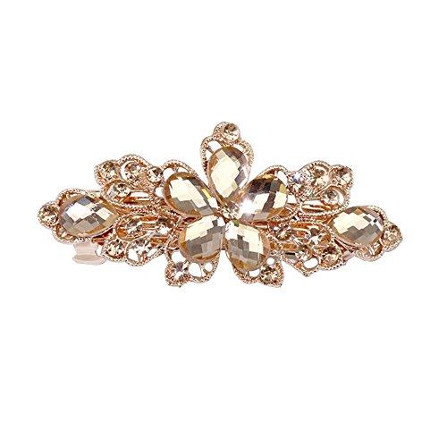Sanwood Women Flower Leaf Crystal Rhinestone Hair Barrette Clip Jewelry...