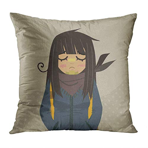 W-wishes Throw Pillow Cover Square 18 X 18 Inch Cartoon Sad Girl Mascot The for Ui Games Tablets and Cushion Home Decor Pillowcase