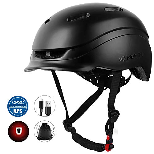 MOKFIRE Bike Helmet for Adults Men Women with Rechargeable USB Light, Bicycle Helmet CPSC Certified with Thick EPS Foam for Urban Commuter Cycling, Adjustable Size 21.65-24.41 Inches (Black)