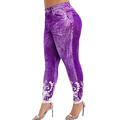 Aniywn Jean Leggings for Women Printed High Waisted Capri Cropped Yoga Pants Stretch Jean Look Denim Fitness Tights