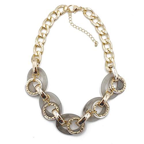 YAZILIND Collar de Gargantilla Retro Resina Bohemia Clavicle Cadena Collares señoras Fiesta joyería (Gris)