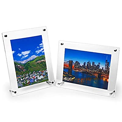 "HESIN 2 Pack of 6 x9 Acrylic Picture Frame Desktop Tabletop Photo Frame Wall Mounted Certificate Sign Holder Artwork Art Print Display Stand Suit for A5 Paper,6"" x8"" or 6""x9"" Frame Inside (2 Pack)"