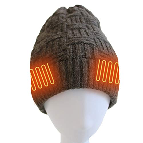 Roexboz Rechargeable Battery Heated Hat Thermal Warm Knitted Hat for Winter