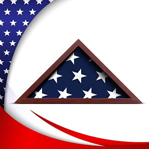 Militärflagge Vitrine für Begrabungsfahne Mahagoni Finish Flag Hülle Bildschirm Rahmen passt 5 x 9,5 gefaltet Flagge für Army Military Navy Air Force Veteranen