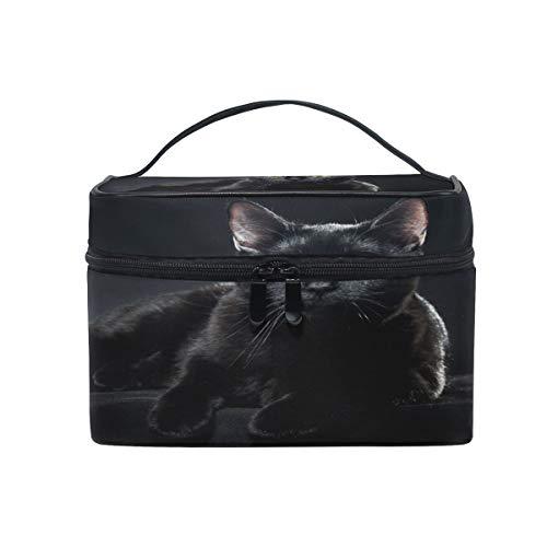Trousse de maquillage, trousse de rangement pour produits de toilette Motif chat britannique Noir Grand format Pochette de voyage Cadeau idéal pour adolescentes, filles, femmes et femmes