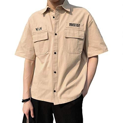 Momina Hombre de manga corta vuelta cuello de verano hombres sueltos casual top ropa de trabajo masculina camisas