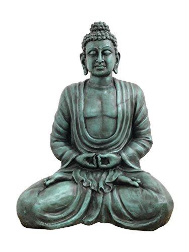 Statue de Bouddha Mangala, Assis, Antique Noir, 120 Cm, résistant aux intempéries