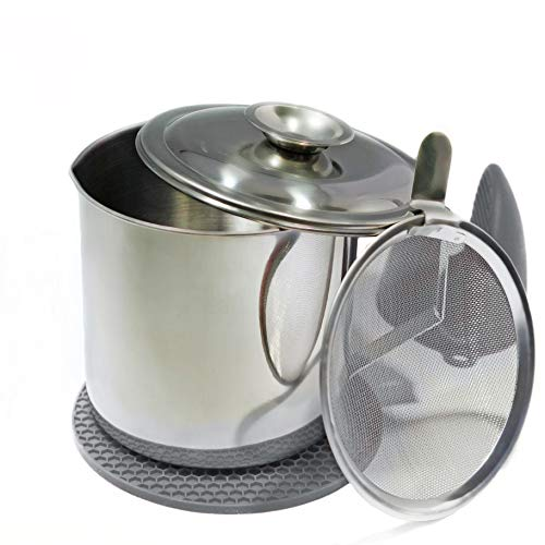 eatelle Stainless Steel Cooking Oil Recycling Container and Bacon Grease Jar with Strainer, Great For Storing Fats and Drippings, 5 cup - 40 oz. + Gray Mitt and Mat