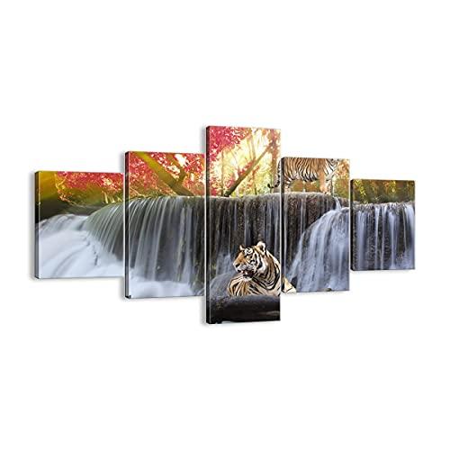 ARTTOR Cuadro sobre Lienzo - Impresión de Imagen - Tigre Naturaleza Animal paraíso - 125x70cm - Imagen Impresión - Cuadros Decoracion - Impresión en Lienzo - Cuadros Modernos - EA125x70-2396
