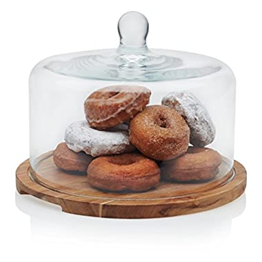 Libbey Acaciawood Flat Round Wood Server with Glass Dome, 11.75 inch Wood Tray & 10.5 inch Glass Dome, Lead-Free, 2-piece