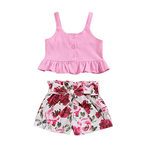 BOBORA Ensemble Bébé Fille Été, 2PCs Vêtements Bébé Fille T-Shirt Floral à sans Manches avec Short en Coton 0-18Mois