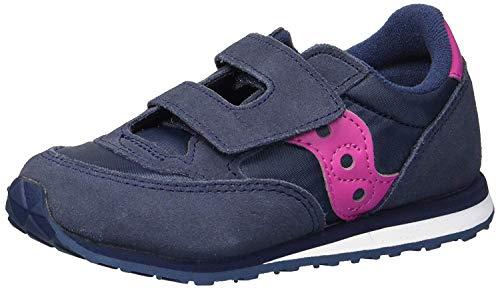 Saucony Boy's Baby Jazz Hook & Loop Sneaker, navy/pink, 6.5 Medium US Toddler