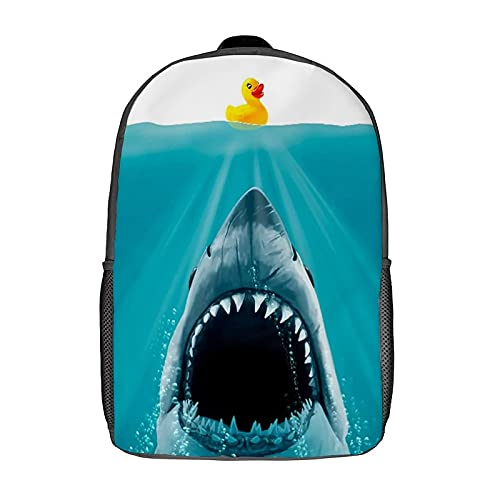 Qtchenglj 17 Inch Laptop Backpack,Save Ducky Rubber Shark Animal Print,Business Travel Anti Theft Computer Daypack Slim Durable School Bag