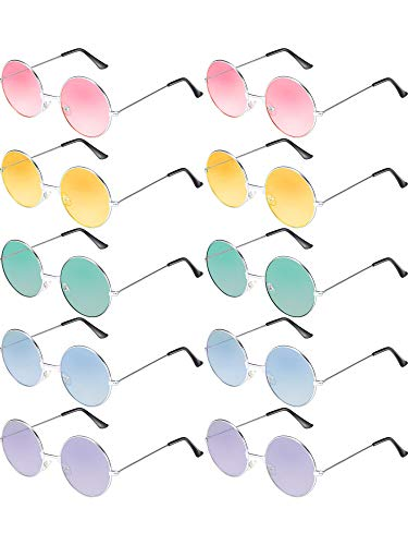 Blulu 10 Pairs Round Hippie Sunglasses John 60's Style Circle Colored Glasses (Silver Frame)