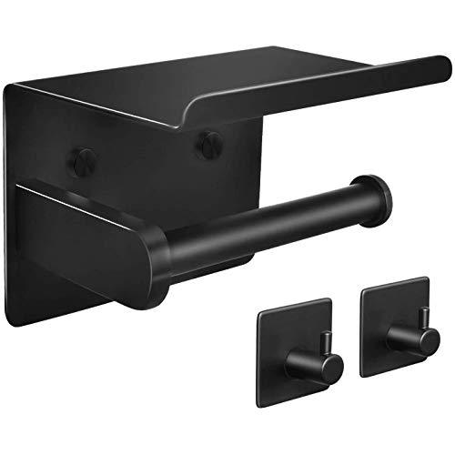 ABWYB Portarrollos de Papel higiénico con Ganchos para Toallas, Adhesivo o Tornillo Portarrollos de Papel higiénico montado en la Pared, Juego de Accesorios de baño