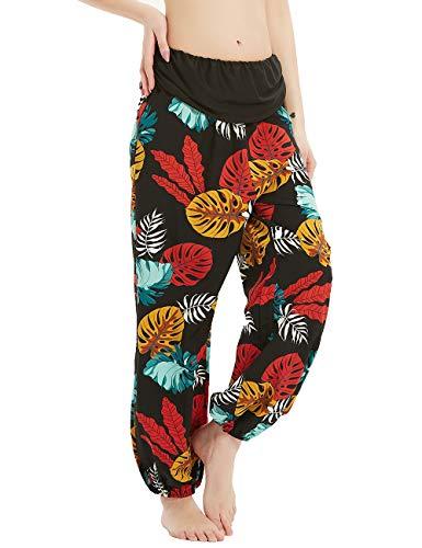 Anwor Pantalones de verano para mujer, estilo harén, con estampado de flores, holgados y anchos, con 2 bolsillos Hoja azul. XL