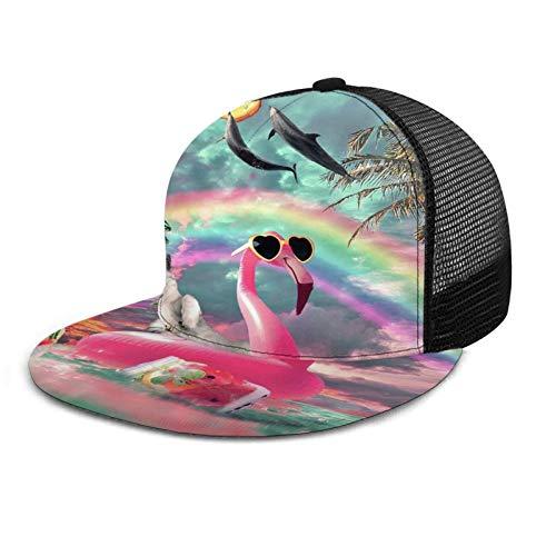 ZORIN Gorra de béisbol plana 3D Mesh Sombreros lindo arco iris gato montar flamenco con delfín Snapback