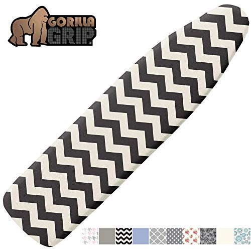 GORILLA GRIP Reflective Silicone Ironing Board Cover, 15x54, Fits Large and Standard Boards, Pads Resist Scorching and Staining, Elastic Edge, Thick Padding, No Fasteners Needed, Quatrefoil Gray White