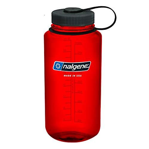 Nalgene 1413830 - Bidón con boca ancha de acampada y senderismo, color Rojo, 1 L