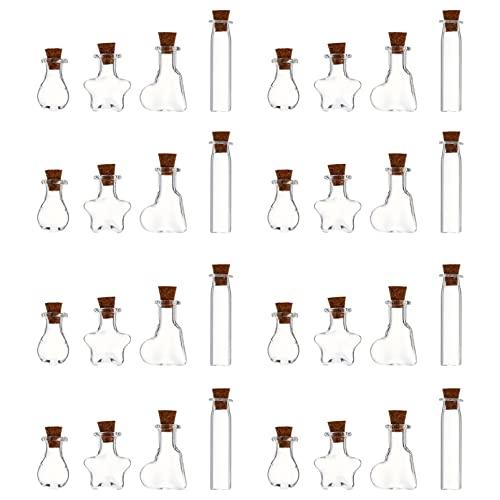 VOSAREA 50 Unidades Mini Botella de Vidrio con Tapón de Corcho 10Ml Frascos de Vidrio Frascos Botella de Deseo Pequeña Botella de Deriva con para Manualidades DIY Proyecto Boda Graduación