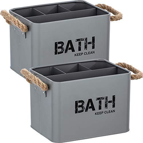 WENKO Badbox Gara mit 4 Fächern Grau, 2er Set