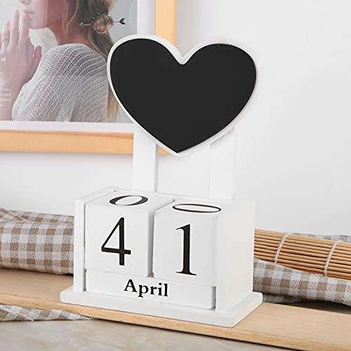 Uxsiya Regalo de cumpleaños de la decoración del Escritorio del Calendario Manual del Calendario de Madera práctico