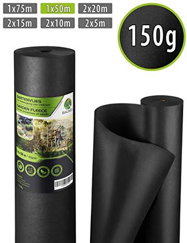 Balinco Unkrautvlies 150g/m² | Unkrautfolie | Gartenvlies gegen Unkraut - reißfest, wasserdurchlässig & hohe UV-Stabilisierung (50m² (50m x 1m))