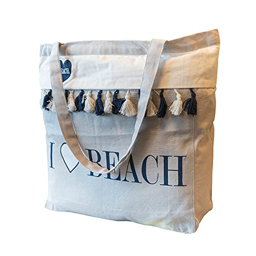 NuvolaNera Borsa mare capiente con ampie maniglie e pratica chiusura zip – Tessuto 100% cotone – 53x46 cm Beach Grigio