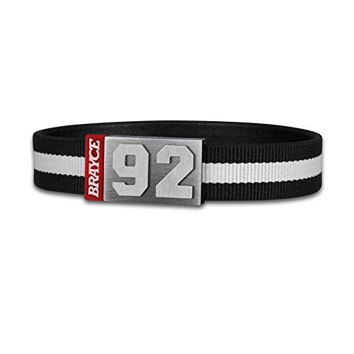 BRAYCE® Trikot am Handgelenk® mit Deiner Trikot Nummer 00-99 I Armband schwarz & weiß I Sportarmband/Teamarmband personalisierbar & handgemacht