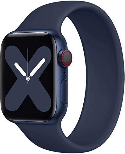 JONWIN Solo Loop Compatibile con Cinturino Apple Watch 42mm 44mm,Nessun Fermaglio Fibbia Cinturino di Ricambio Sportivo in Silicone Estensibile per Cinturino per iWatch Serie 6/5/4/3/2/1,SE,Blue,9#