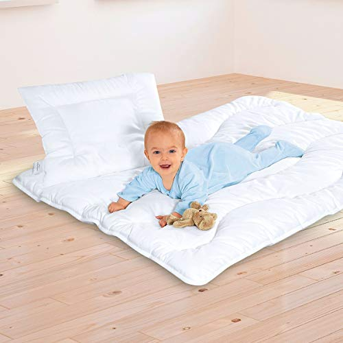 BABY-WALZ Ensemble literie bébé « SATINE » ensemble couette couverture, blanc